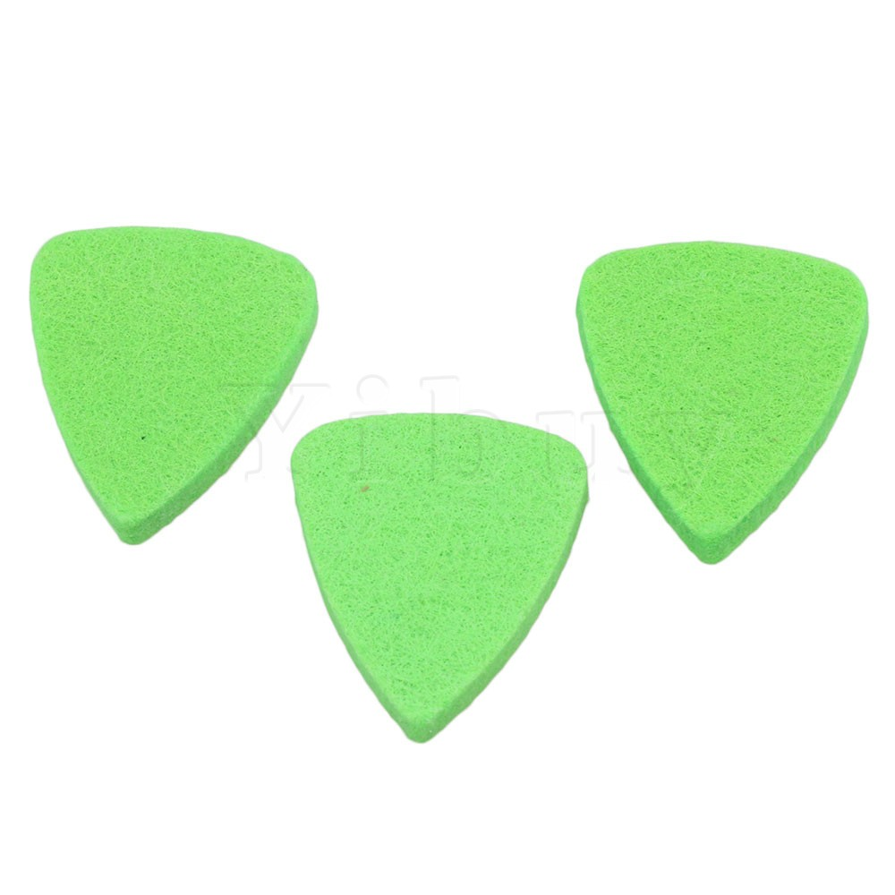 Yibuy 100pcs 3x2.8cm Green Felt Guitar Finger Picks Soft Plectrums for Ukulele & Bass & Guitar