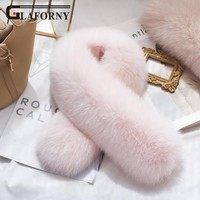 Glaforny 2018 Korean Women Adult Fashion Scarf Autumn And Winter Women's Real Fox Fur Scarf Lady's Collar Muffler Thicken Warm