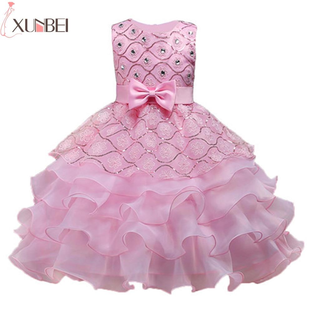 Knee Length Christmas Lace Ruffles Flower Girl Dresses 2019 Crystal O-Neck Pageant Dresses For Girls vestidos champanhe festa