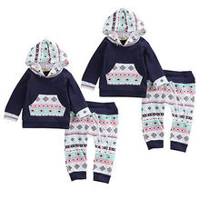Newborn Toddler Infant Kids Baby Boy Girls Long sleeve Clothes Hoodie T shirt Tops Pants Outfits