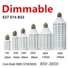 D50 5pcs/lot Dimmable 5730 24LED 7W LED Lamp Lighting E27 E26 B22 E14 110V 220V Lampada LED Light Dimming Corn Bulbs Spotlight