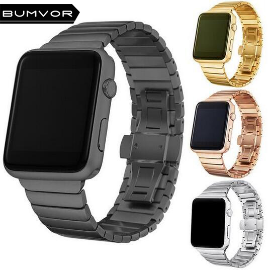 BUMVOR Stainless Steel link bracelet for iwatch band series 3 2 1 stainless Metal strap for apple watch 42mm 38mm watchband fohuas luxury stainless steel link bracelet band for apple watch series 1 2 band iwatch stainless steel strap 42mm with adapters