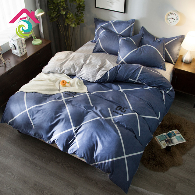 New Combed Cotton Four Piece Suit Print Bedding Bed Sheet Quilt Cover Pillowcases For Home