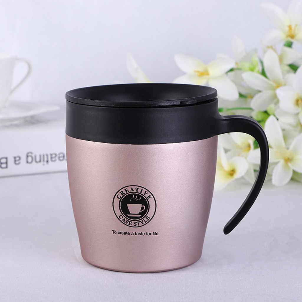 Garrafa térmica de aço inoxidável caneca de café de chá de leite isolado parede dupla caneca de água com tampa prática acampamento ao ar livre durável