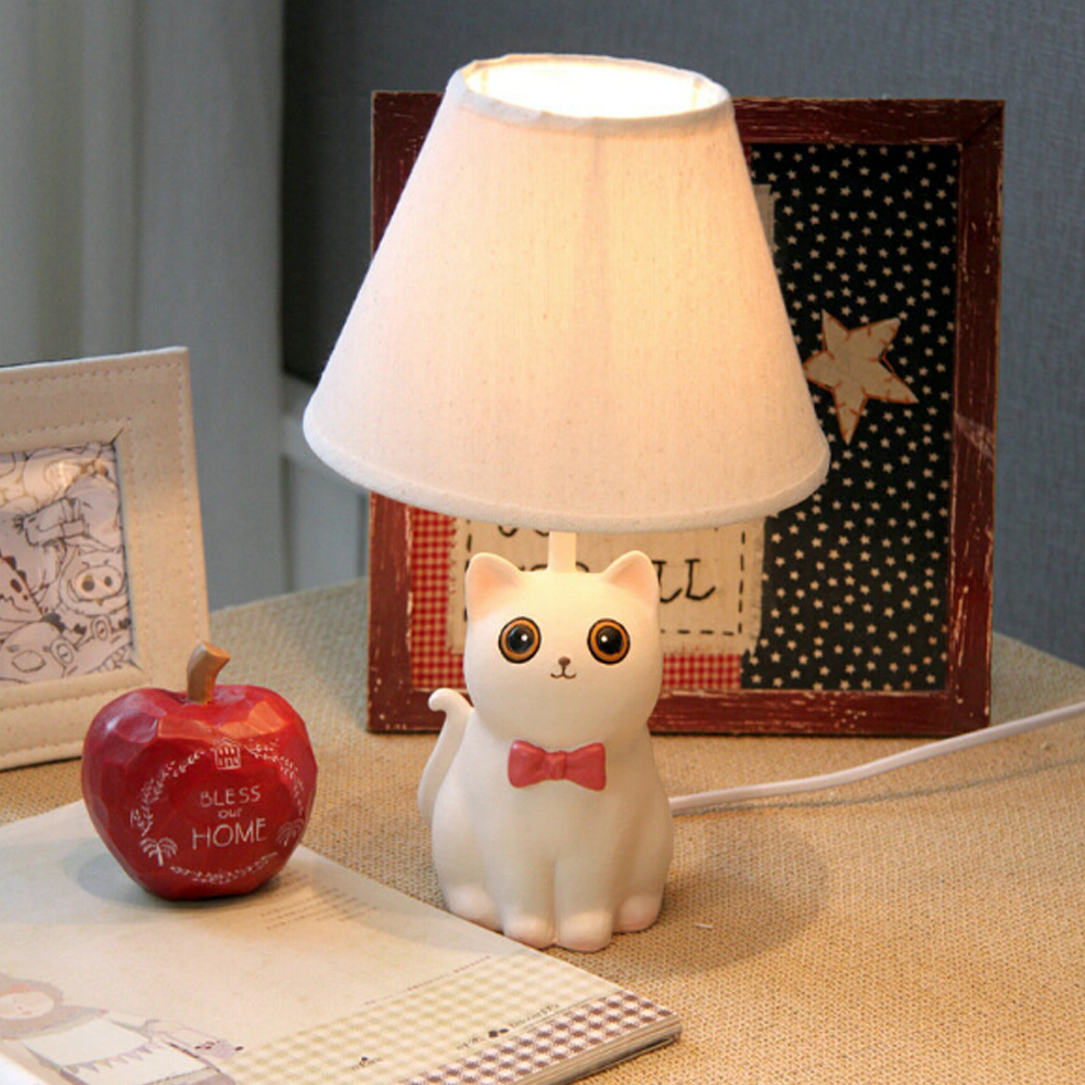 ФОТО High Quality Cute Cat Kids Table Lamp E14 110V-220V Children Room Switch Button Modern Table  Lamp Birthday Wedding Gifts