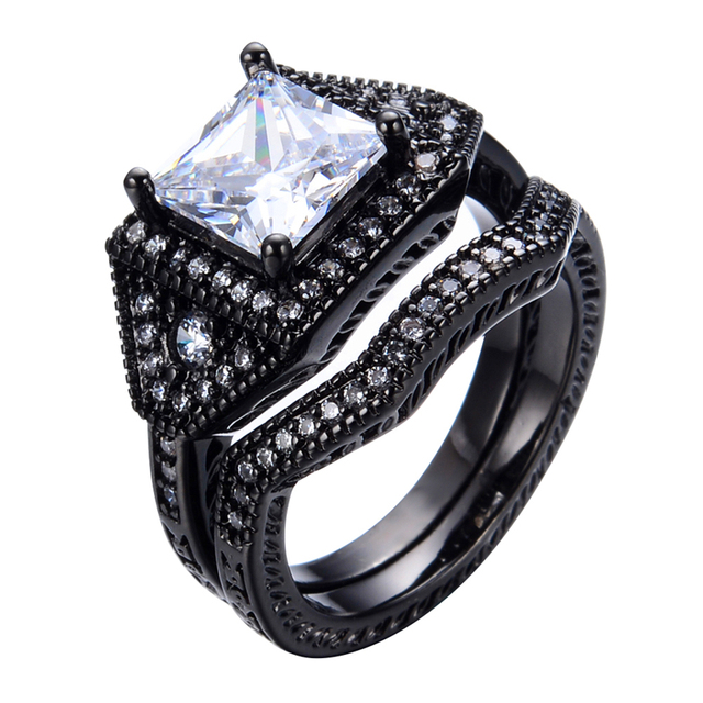 Vintage Princess Cut White Stone Ring Sets Men Women Fashion Zircon Jewelry Black Gold Filled Engagement Couple Rings RB0123