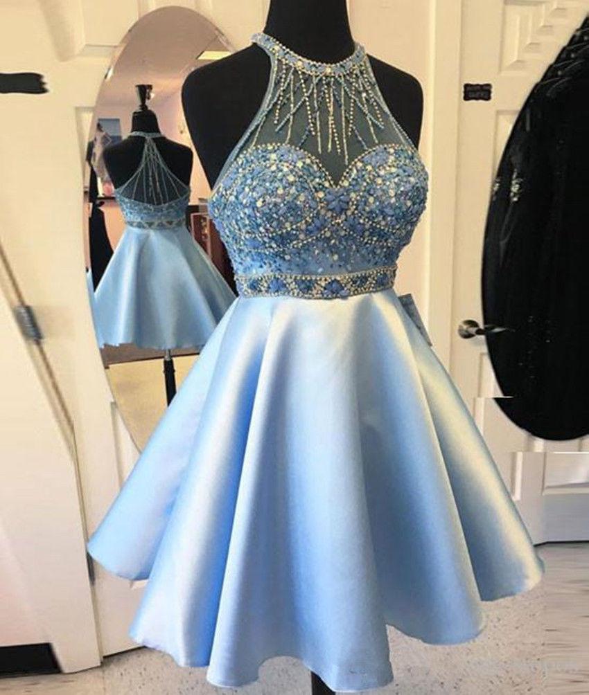 Halter Beaded Short   Bridesmaid     Dresses   DANCE PARTY