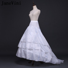 JaneVini Adult A Line Petticoat White Floor Length Underskirts Wedding Dresses Jupon Lolita 2 Hoops 3 Layers Petty Coat