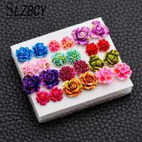 SLZBCY Bunte Rose Blume Stud Ohrringe Set Harz Rot Farbe Kleine Ohr Ohrring für Frauen Mädchen Hoilday Party Jewery 12 paare/satz