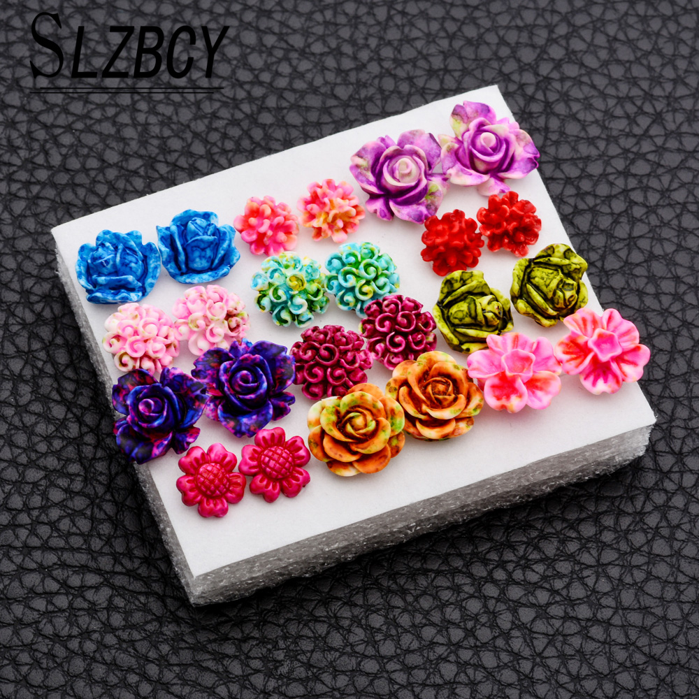 SLZBCY Colorful Rose Flower Stud Earrings Set Resin Red Color Small Ear Earring for Women Girl Hoilday Party Jewery 12Pairs/Set