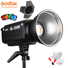 Godox SL 150W luz de vídeo led 5600k 150w cri 93 + bowens mount w/controle remoto BD 04 barril filtros de 4 cores da grade do favo de mel da porta