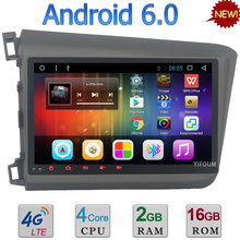 3G 4G WIFI Android 6.0 10.1″ Quad-Core 2GB RAM DAB AUX FM USB BT Car DVD Player Radio For Honda Civic 2012-2015 GPS Navigation