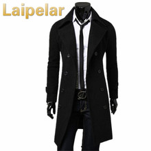 Mens Trench Coat 2018 New Fashion Designer Men Long Autumn Winter Double-breasted Windproof Slim Plus Size