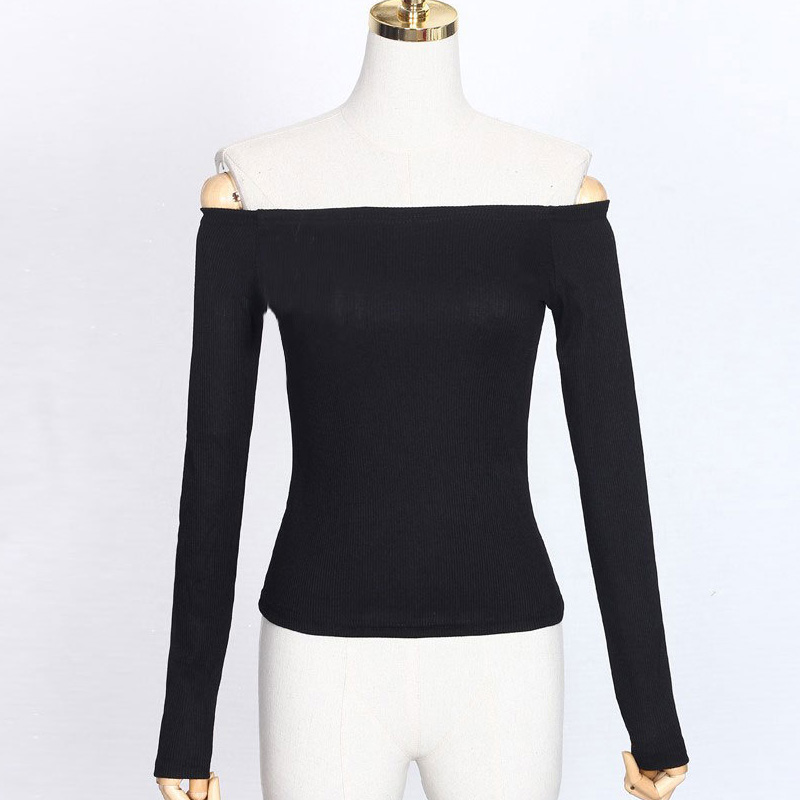 6ca8a4daca CHISILY SINJORINO Off Shoulder Women Sweater Long Sleeve Women Sexy Pullover  Female 2018 Basic Ribbed Knitted Sweaters Black -in Pullovers from Women s  ...