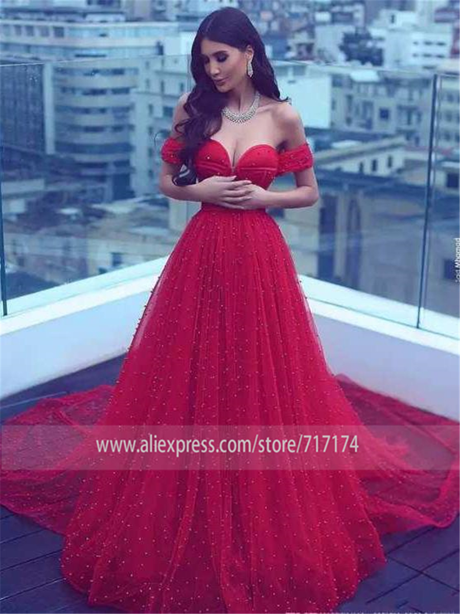 Long Prom A line Off the shoulder Red Beading Prom Dresses Pearls Crystals Saudi Arabia Evening