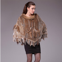 Autumn Winter Women's Genuine Real Knitted Rabbit Fur Poncho with Tassels Lady Pashmina Cloak Shawls Female Wrap VF0569