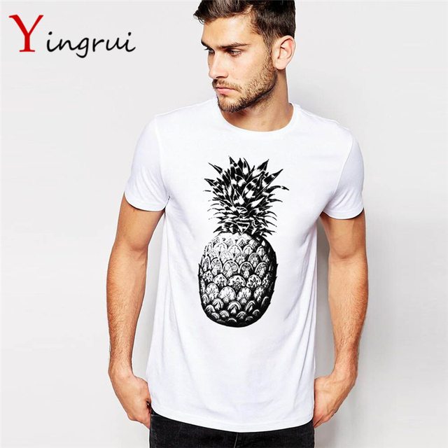 2665a2cc2ee5 Summer Men T shirt Fruit Print Pineapple T-shirt O-neck Casual Short Sleeve  Tee Tops Male Tshirt Cotton Clothes