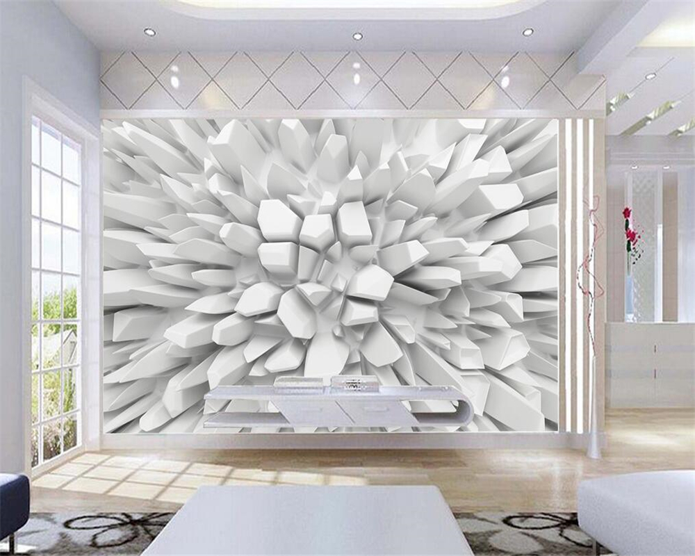 Beibehang White 3d Radiant Stone Photo Wallpaper Custom Wall mural ...