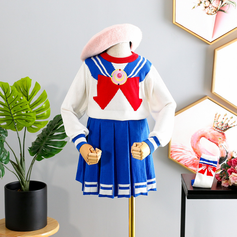 83d0296b7b70 Kids Clothes Set Sweet Baby Girls Sailor Moon Dress Suits Knitted ...