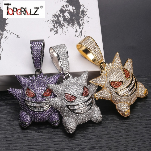 TOPGRILLZ Super Big Gengar Iced Out Pendant Necklace Mens With 12mm Cuban Chain Hip Hop Gold Silver Plated Charms Chain Jewelry