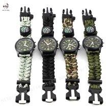 Принять Дропшиппинг Открытый Кемпинга Флинт Fire Starter Компас Часы Свисток Выживания Передач Paracord Нож Спасательной Веревки