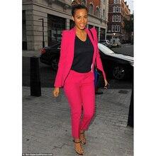 Jacket+Pants Rose Red Women Business Suits Blazer Slim Female Office Uniform 2 Piece Trouser Suit Ladies Winter Formal Suits