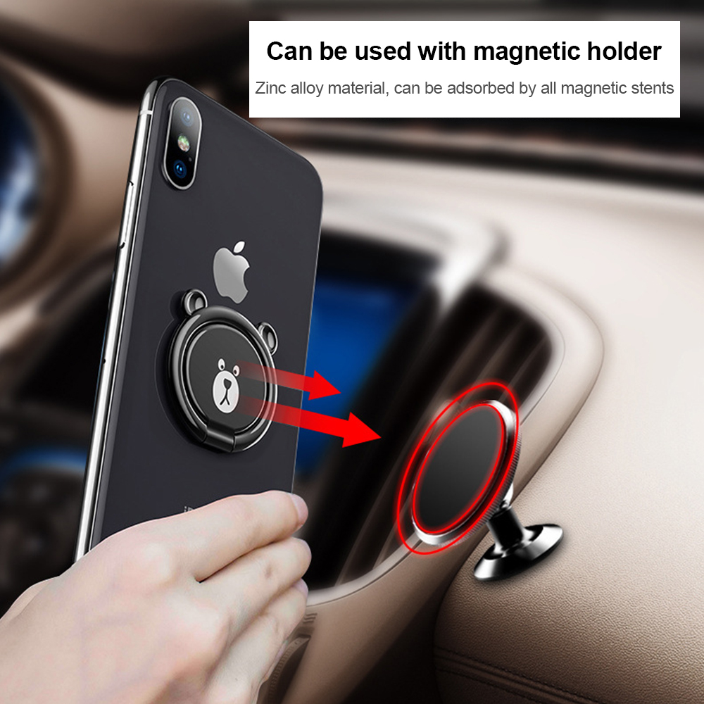 Cute Animal Bear Phone Stand Holder Magnetic Car Bracket For Phone Finger Ring Table 360 Degree Rotatable Smartphone Universal