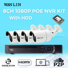 WAN LIN 8CH POE NVR With 4PCS Outdoor SONY IMX323 1080P 2.0MP Full HD POE IP Cameras POE Security System