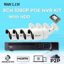 WANLIN 8CH 3MP POE NVR CCTV SYSTEM Video Recorder 4PCS 2MP SONY IMX323 Outdoor POE IP Camera P2P ONVIF Video Surveillance System