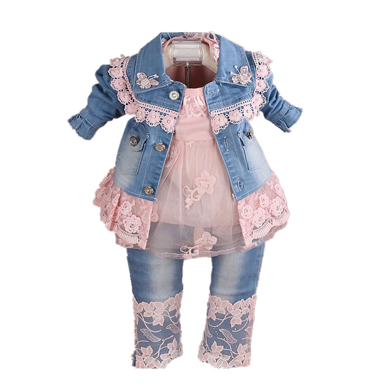 Baby Girl Clothes Sets 2018 Brand Spring Denim Jacket+T-shirt+Jeans 3pcs Outfits Set Clothes Toddler Infant Baby Girl Clothing newborn toddler girls summer t shirt skirt clothing set kids baby girl denim tops shirt tutu skirts party 3pcs outfits set
