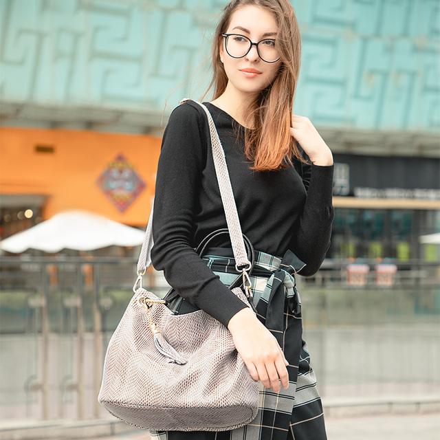 Ægte læder taske kvindelige hobos