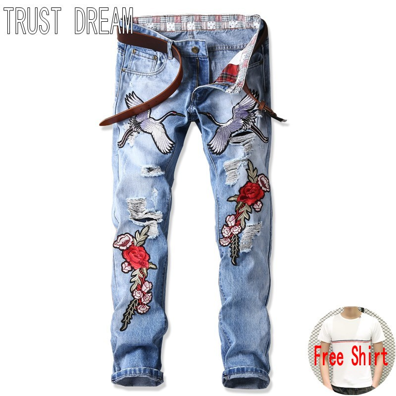TRUST DREAM Europeans Designed Men Embroidered Flying crane Flower Ripped Hole Jean Casual Distressed Slim Man Fashion Jeans l jean camp trust