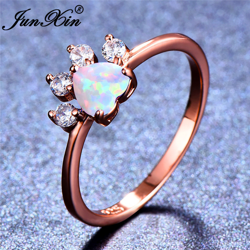 Junxin White Fire Opal Stone Animal Footprint Rings For