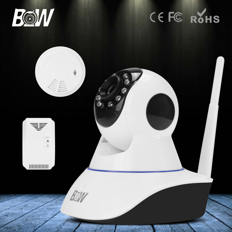 Wireless IP Camera HD 720P P2P Wifi IR 2 way Audio PTZ Security Surveillance CCTV + Gas & Smoke Detector GSM Alarm Baby Monitor bw p2p cctv ip camera wifi wireless hd 720p onvif rotatable surveillance security camera cctv automatic sensor detector alarm