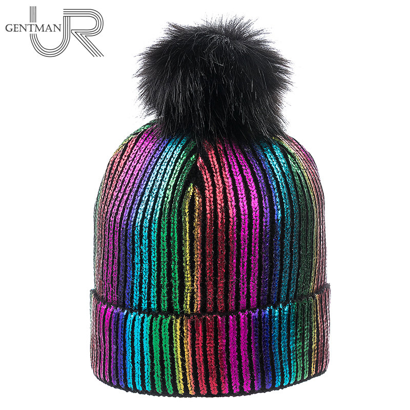 New Winter Hat For Women Bronzing Women's Cap Rainbow Colorful Wool Knitted Hat With Pompoms Female Warm Hat   Skullies     Beanies