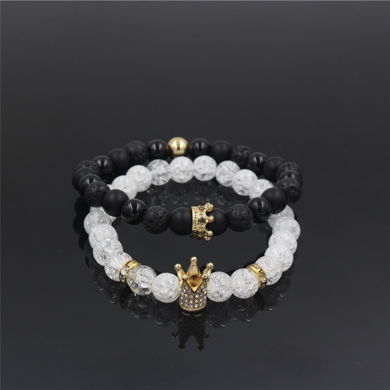 New 2Pc/Sets Natural 8/6mm Stone Beads Couple Bracelets for Women Micro Pave CZ Crown Charms Bracelet Men Jewelry Pulseras Mujer 7