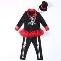 New Halloween Sugar Skull Costume Fancy Dress For Kids Girls Carnival Skeleton Costume Tutu Baby Party