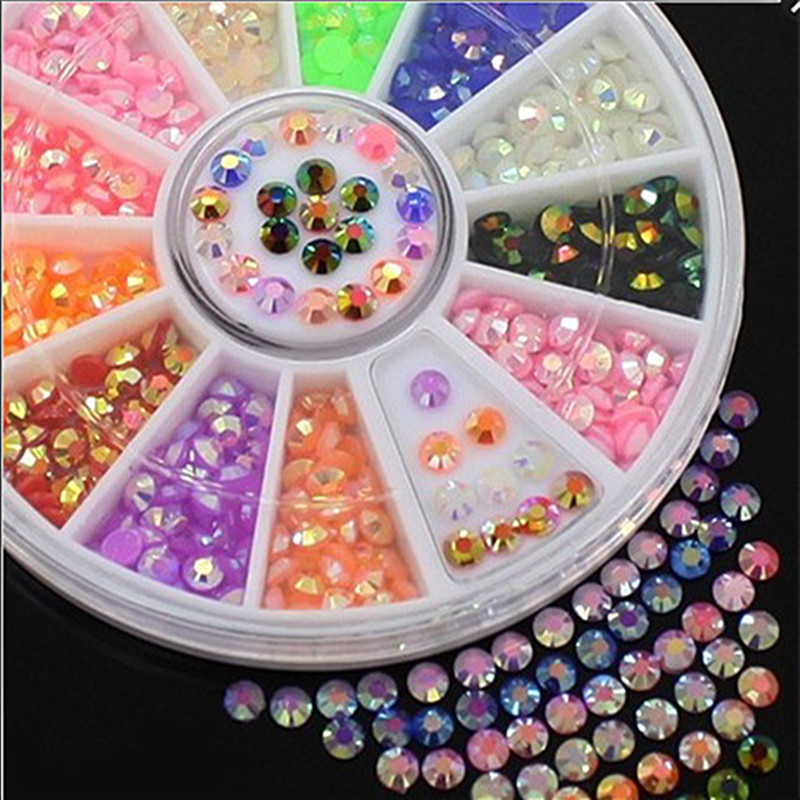 Flazea Hot 1 box 12 colors Acrylic Nail Art Decoration Glitter Rhinestones Stickers 2mm Jelly Drill for 3D Accessories