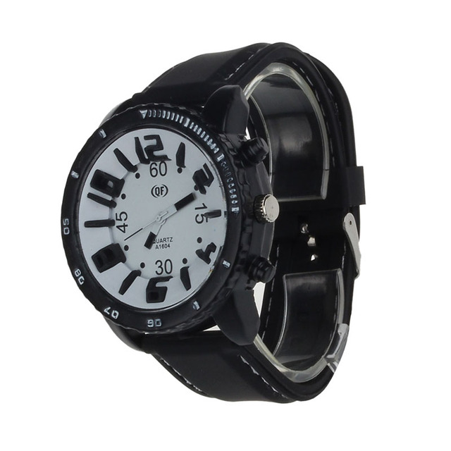 Silicone Rubber Band Stainless Steel Analog Quartz Sport Watch Brand New High Qu