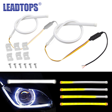 2pcs 60cm Silicagel  LED DRL Turn Signal Lights Fexible Daytime Running 12V COB External Car -Stying White To Yellow CJ