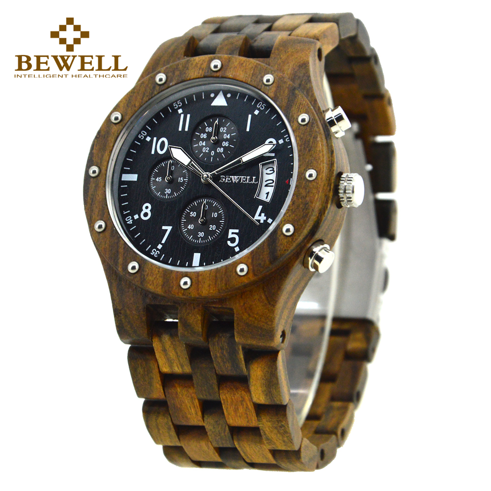 BEWELL 2018 Full Sandalwood Wrist Watches Design Man Clock Top Luxury Brand Quartz Chronograph Calender Relogio Masculino 109D