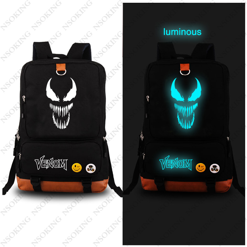 New Backpacks Venom Cosplay Backpack Anime Fashion Spider-Man Canvas bag Student Luminous Schoolbag Unisex Travel BagsNew Backpacks Venom Cosplay Backpack Anime Fashion Spider-Man Canvas bag Student Luminous Schoolbag Unisex Travel Bags