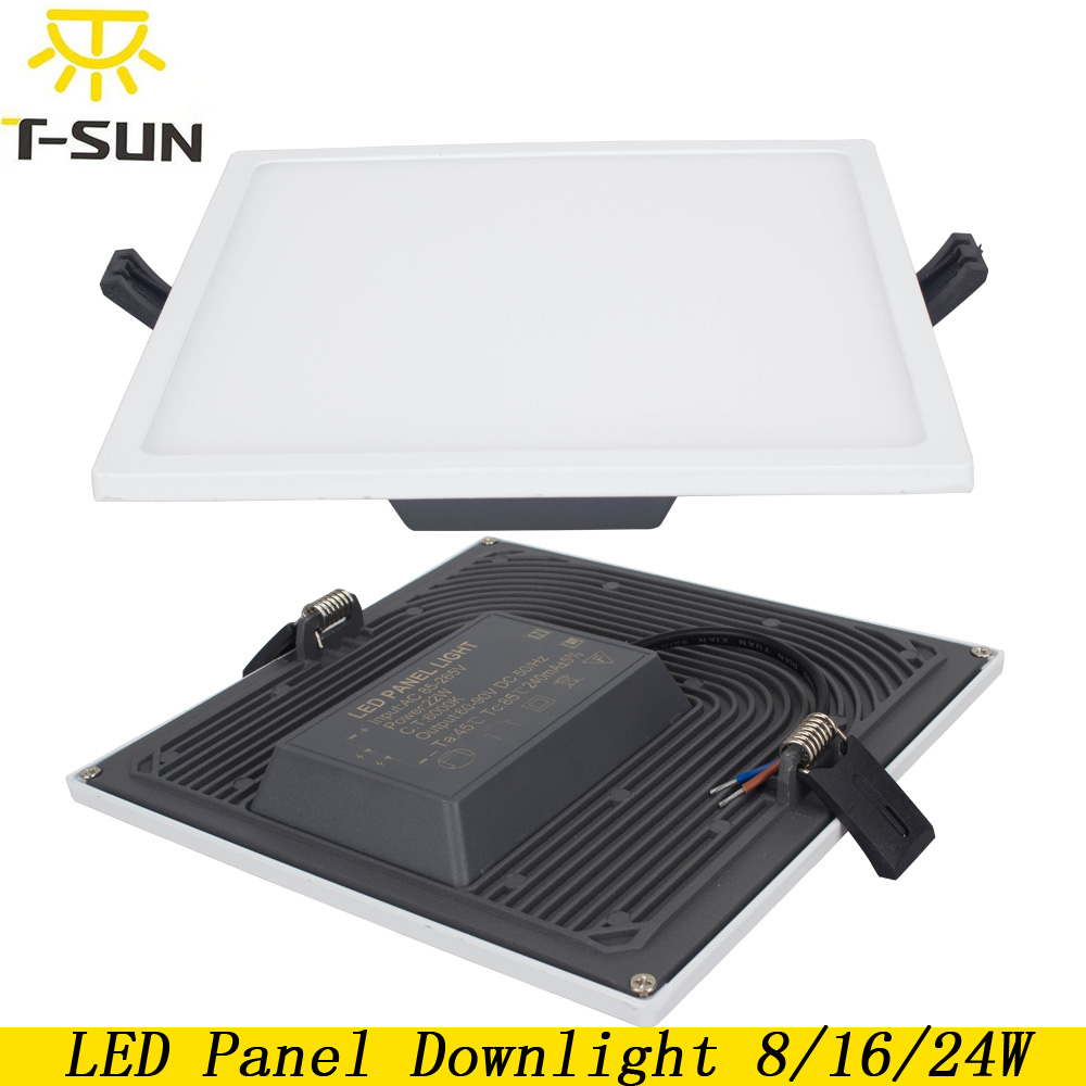 T-SUNRISE Ultra tynt LED-panel Downlight 8W 16W 24W Square Innfelt lys Innendørsbelysning LED-lamper på taket Utstyr