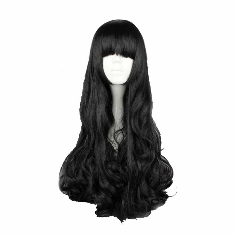 Mcoser Бесплатная доставка 70 см Синтетических Длинные вьющиеся черные Цвет Косплэй парик 100% Высокая Температура Волокно волос wig-011c