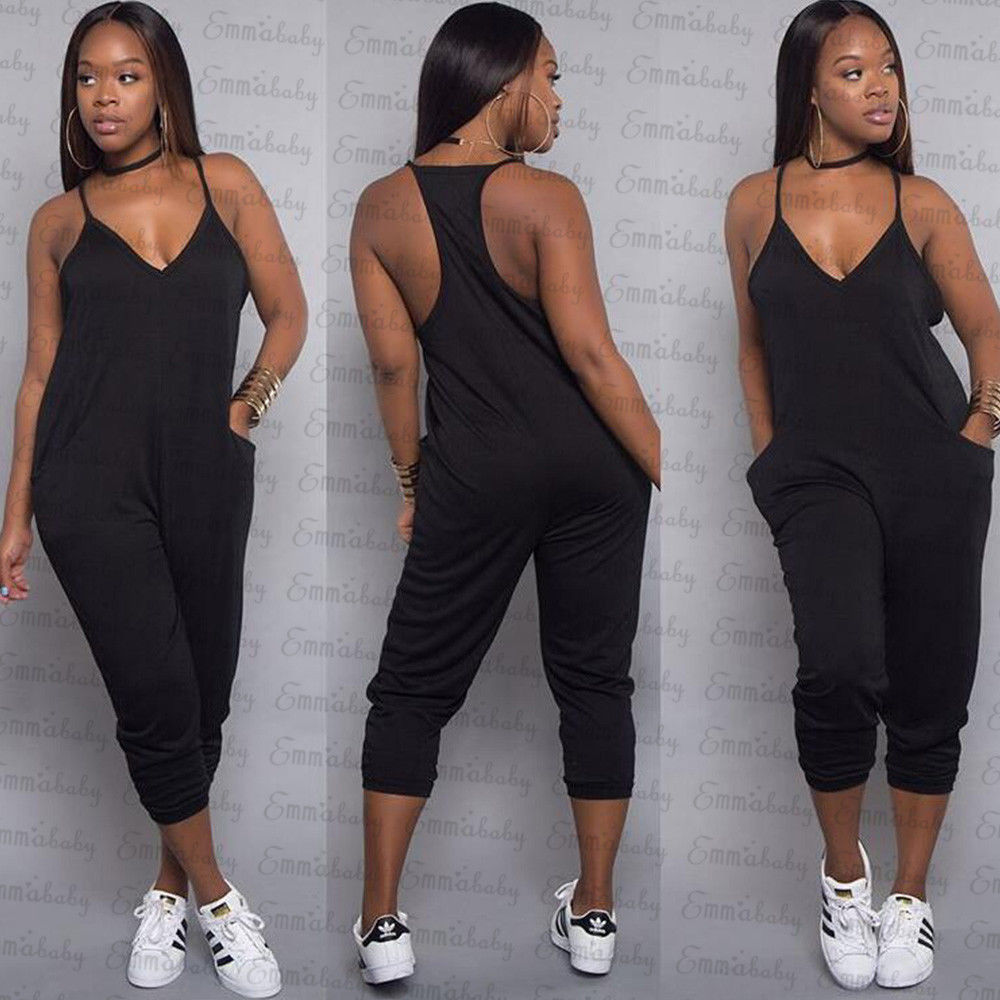 c9d790269c9b 2018 New Style Women Ladies Black Casual Clubwear Summer Playsuit Bodycon  Party Jumpsuit Romper Trousers-in Jumpsuits from Women s Clothing on ...