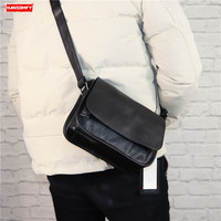New leather Men and women crossbody shoulder bag Casual diagonal cross wind man small bag Vintage messenger bags