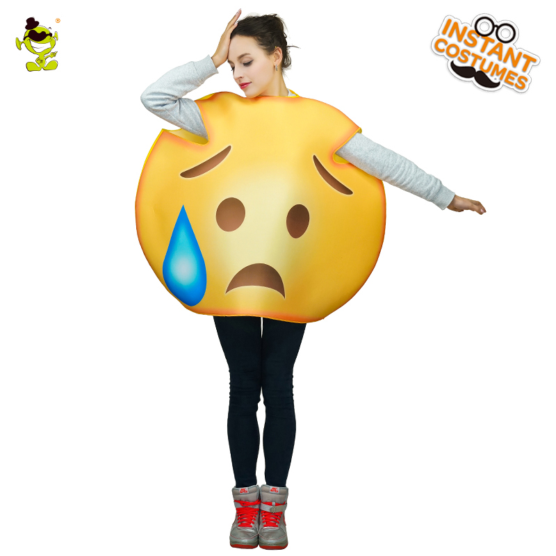 Woman Oops Emoticon Costume Halloween Cosplay Cute Cold Sweat Emoji Costumes Carnival Party Role Play Cartoon Outfits for Women