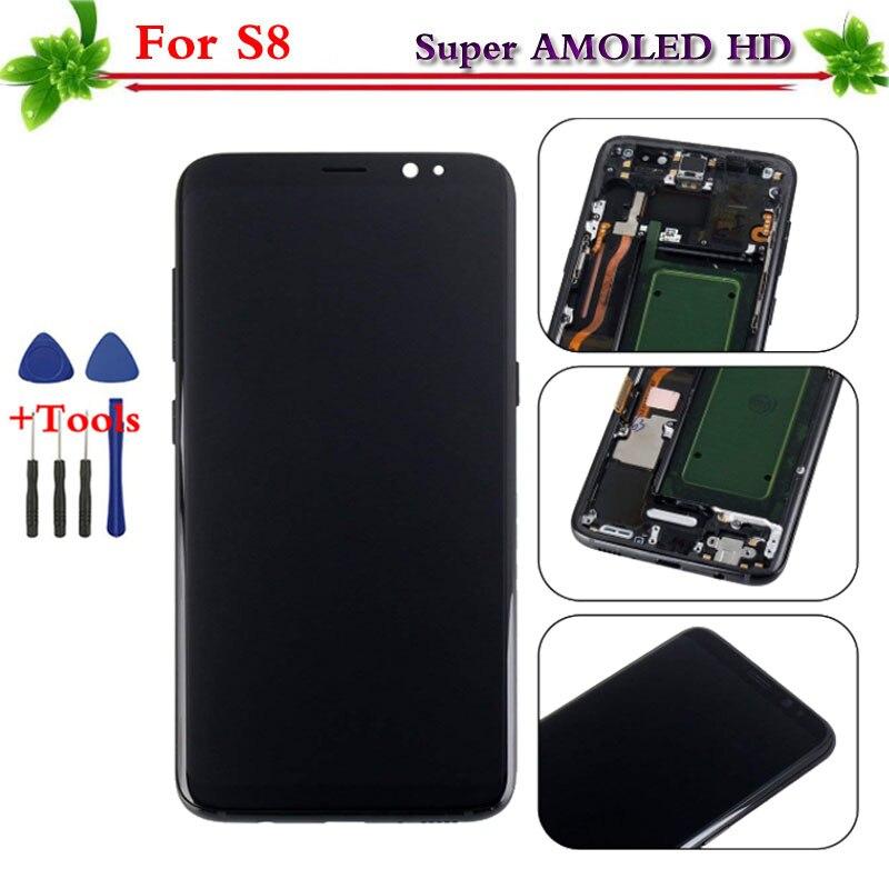 100% Testato Super AMOLED per Samsung Galaxy S8 display LCD touch screen digitizer Assembly di Ricambio con telaio G950 G950F