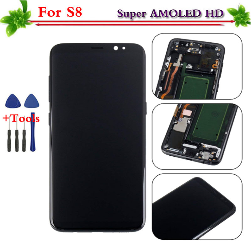 100% Testato Super AMOLED per Samsung Galaxy S8 display LCD touch screen digitizer Assembly di Ricambio con telaio G950 G950F