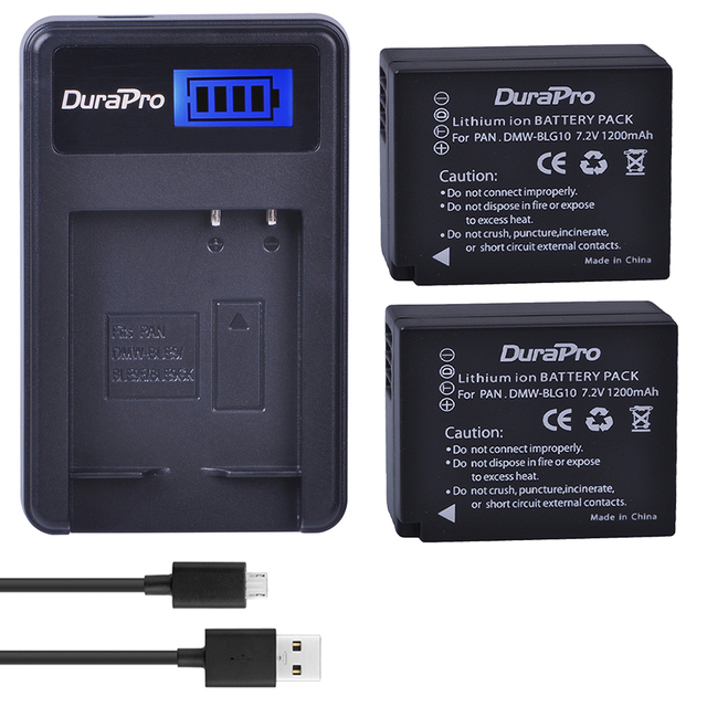 2pc 1200mAH DMW BLG10 BLG10 BLG10E BP DC15 Camera Battery + LCD  Charger for Panasonic LUMIX GF5 GF6 GX7 LX100 GX80 GX85